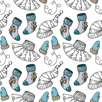 Seamless pattern with new year elements of clothing