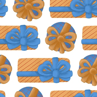 Seamless pattern with new year gifts