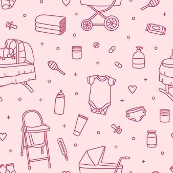 ピンクの背景に輪郭線で描かれた新生児用ベビーケア製品、保育用品、または幼児用ツールとのシームレスなパターン。モダンな線画スタイルのモノクロベクトルイラスト