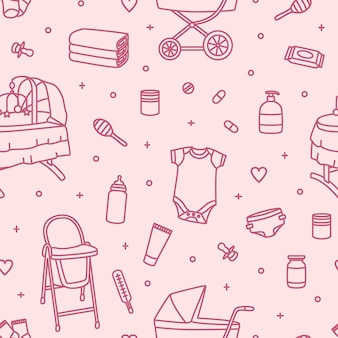Seamless pattern with newborn baby care products, nursery supplies or tools for infant child drawn with contour lines on pink background. monochrome vector illustration in modern lineart style