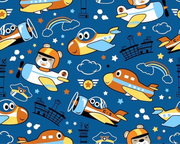 Seamless pattern with nice planes cartoon