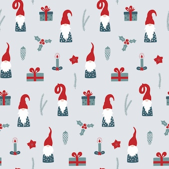 Seamless pattern with nordic gnomes.