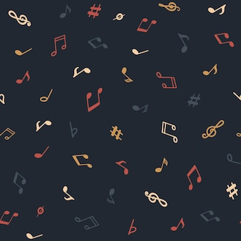 Seamless pattern with notes or sheet