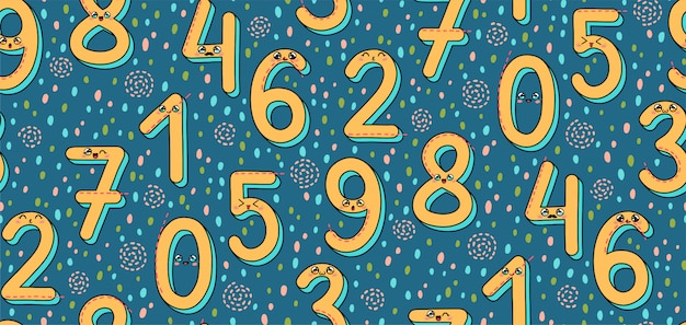 Seamless pattern with numbers 1-9 in japan kawaii style