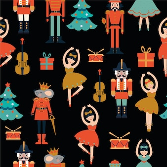 Seamless pattern with nutcracker. tree, violin, ballerina, mouse king.