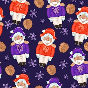 Seamless pattern with nutcrackers and nuts