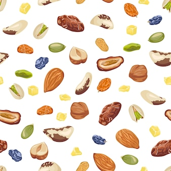 Seamless pattern with nuts and dried fruits.