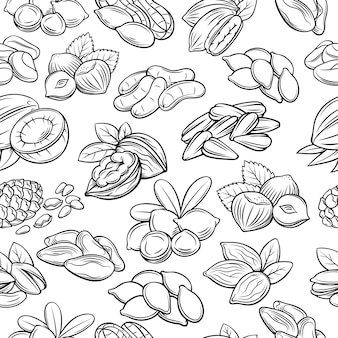Seamless pattern with nuts and seeds.