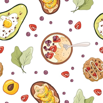 Seamless pattern with oatmeal porridge, avocado with egg, cookies, fruit sandwich.