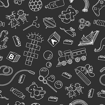 Бесшовный фон с объектами о детстве векторные иллюстрации
