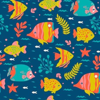 海洋魚とのシームレスなパターン。ベクトルグラフィックス。