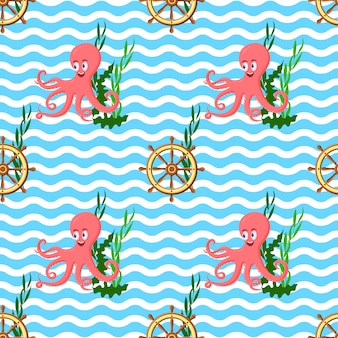 Seamless pattern with octopus, ship wheel, sea weeds and ocean waves.