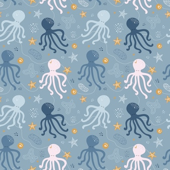 Seamless pattern with octopus.