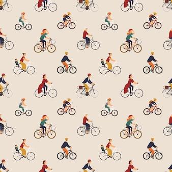自転車や自転車に乗る老若男女とのシームレスなパターン。自転車で男性と女性の背景。紙、布のプリント、壁紙を包むためのフラットな漫画スタイルのベクトルイラスト。