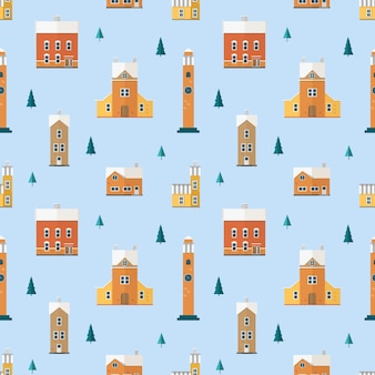 Seamless pattern with old buildings, clock towers and spruce trees