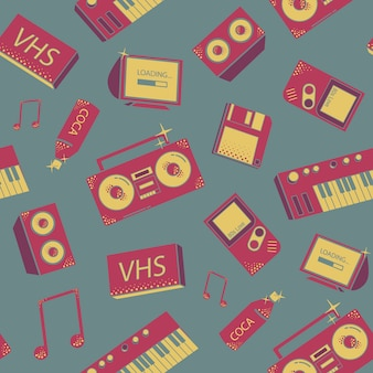 Seamless pattern with old school things. colorful background with synthesizers, tape recorder, phone and other elements.