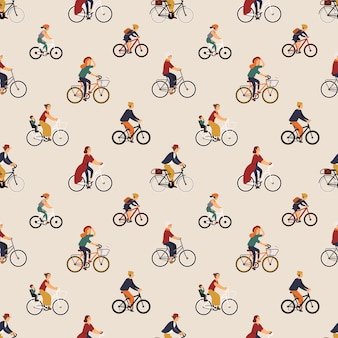 Seamless pattern with old and young people riding bikes or bicyclists. backdrop with men and women on bicycles. vector illustration in flat cartoon style for wrapping paper, fabric print, wallpaper.