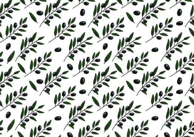 Бесшовный фон с оливковой ветвью. нарисованный от руки.