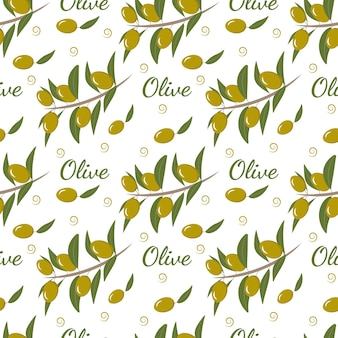 Seamless pattern with olive branch and olives for decor wallpaper paper packaging