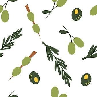 オリーブとのシームレスなパターン。カラフルな漫画の緑のオリーブの背景。レストランやバー、マティーニイベント、オーガニック化粧品、オリーブオイル会社、チラシ、メニューに最適です。ベクトルイラスト Premiumベクター