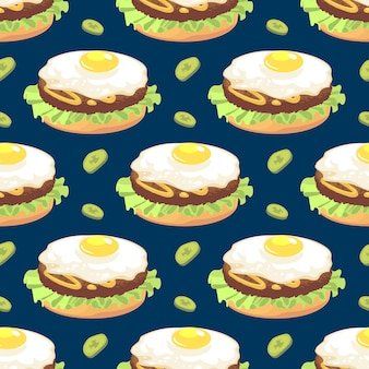 Seamless pattern with omelette sandwich