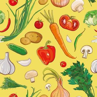 Бесшовный фон с луком, морковью, грибами, картофелем, петрушкой, чесноком, перцем, помидорами, капустой, укропом. пищевой ингредиент. фон для.