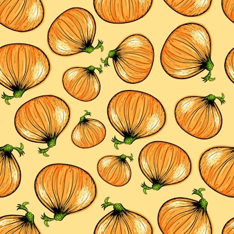 Seamless pattern with onions.