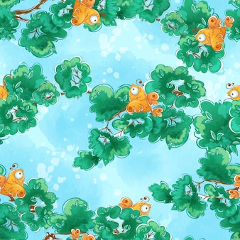 오렌지 새 나뭇 가지에 앉아 완벽 한 패턴입니다.