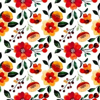 주황색 갈색 꽃 수채화와 완벽 한 패턴