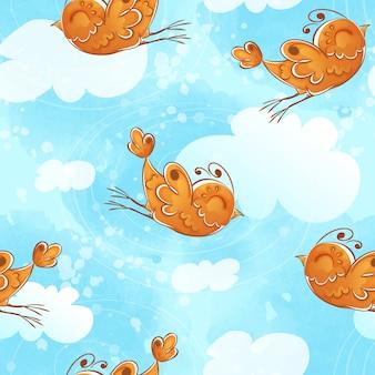 Безшовная картина с оранжевой летящей птицей и облаками.