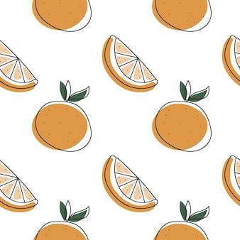 Бесшовный фон с апельсином в стиле каракули модный минималистский принт с фруктами