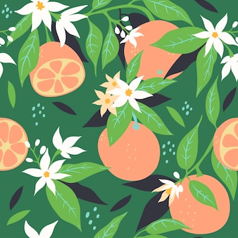 Бесшовный фон с апельсинами и цветами. векторная графика.