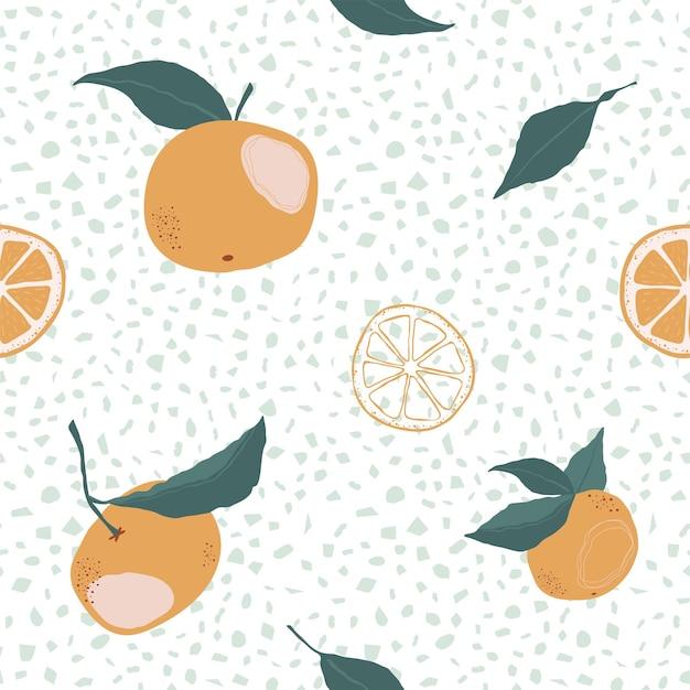 オレンジと白い背景の上のスライスとのシームレスなパターン。フラットスタイルの柑橘類とモダンな明るい繰り返しの背景。ベクトルストックイラスト