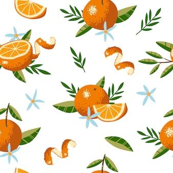 오렌지, 꽃, 잎과 완벽 한 패턴입니다. 반복되는 배경. 직물 또는 벽지에 대한 벡터 인쇄.