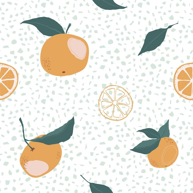 Seamless pattern with oranges and slice on a white background. a modern bright repeated background with citrus in flat style. vector stock illustration