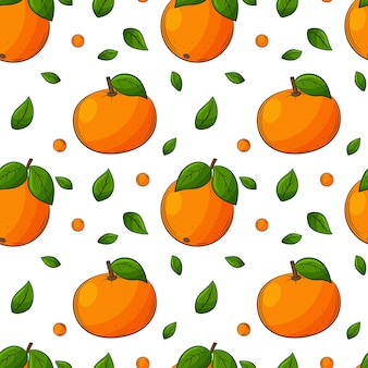 Seamless pattern with oranges, tangerines and leaves. bright, juicy, summery, fruity pattern.
