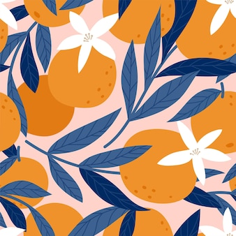오렌지와 함께 완벽 한 패턴입니다. 벡터 일러스트 레이 션