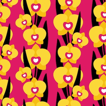 Seamless pattern with orchid flowers on pink background.