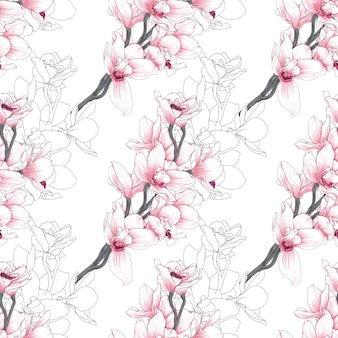 Seamless pattern with orchid flowers