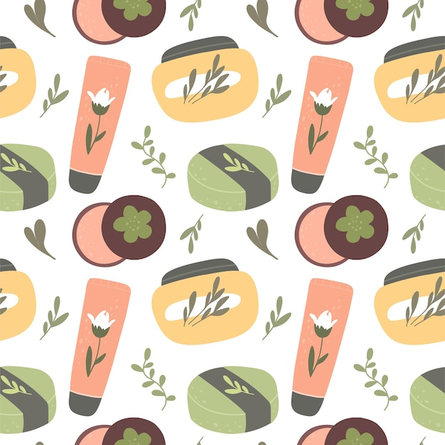Seamless pattern with organic cosmetics natural cosmetics and body skin care products vector hand