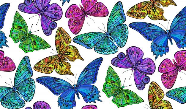 華やかな落書きとのシームレスなパターンには、蝶が描かれています。
