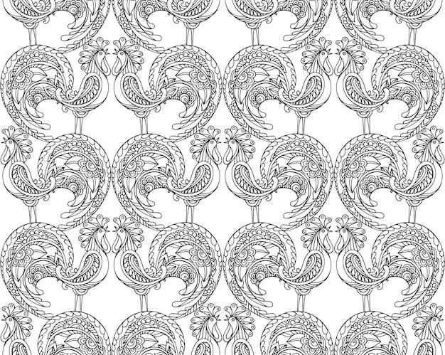 화려한 수 탉과 완벽 한 패턴