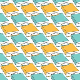 Seamless pattern with outline decorative books