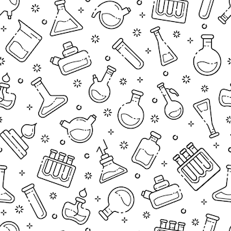 Seamless pattern with outline laboratory flasks, test tubes for scientific experiment. chemical lab
