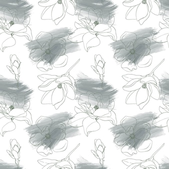 Seamless pattern with outline magnolias flowers and brushes strokes