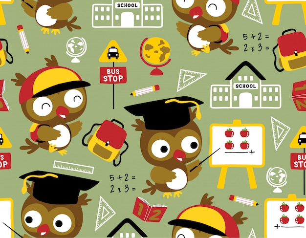 Seamless pattern with owl cartoon with school supplies