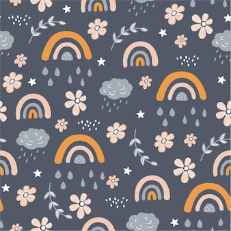 Seamless pattern with owl, cloud and rainbow in the sky.