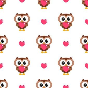 Бесшовный фон с совами и сердцами