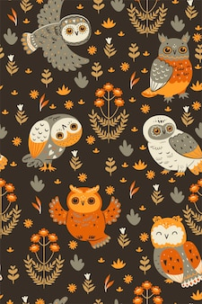 Seamless pattern with owls in brown colors.