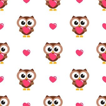 Seamless pattern with owls and hearts